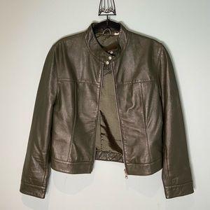 Vintage Green Leather Moto Jacket, S